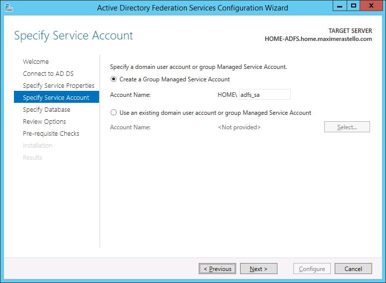 Service Account ADFS