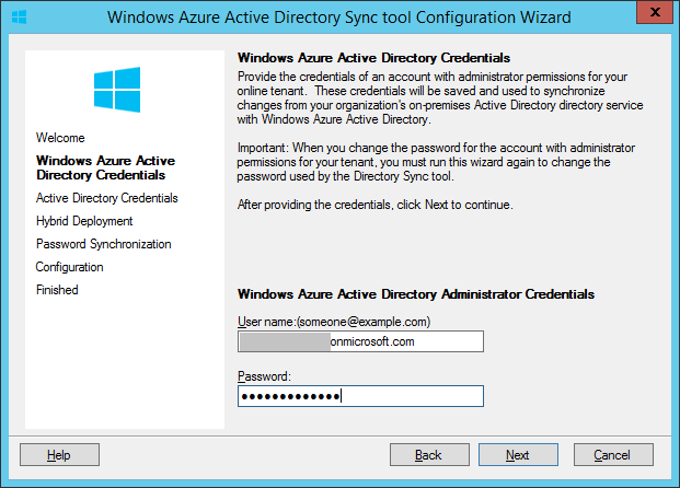 DirSync Identifiants Windows Azure