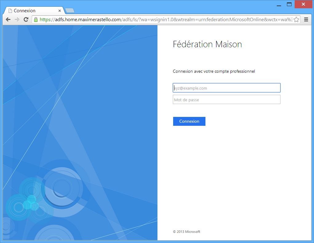 Page de logon ADFS 3.0 Windows Server 2012 R2