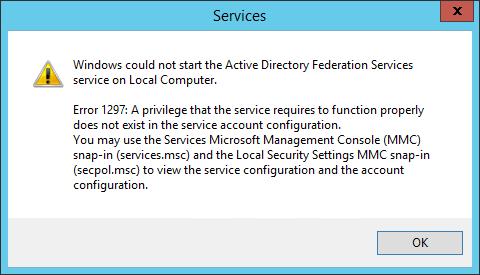 erreur 1297 service adfs 3.0