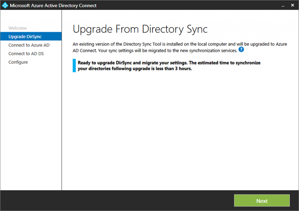 dirsync upgrade to azure ad connect