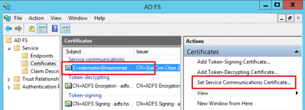 change service communication certificate adfs