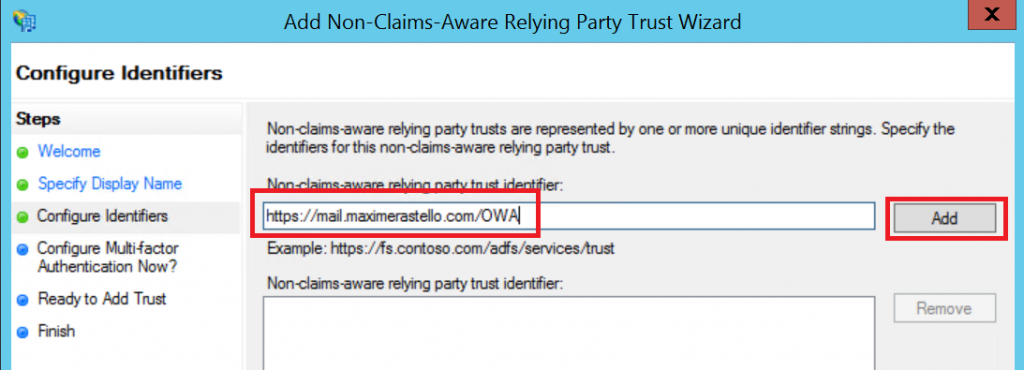 relying party trust id